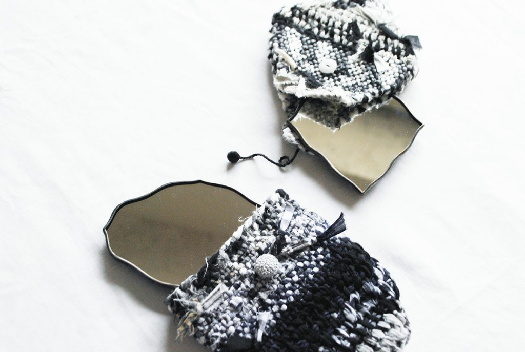 atelier mado ステンドグラス 手鏡 SUNNY CLOUDY RAINY  lente 裂き織り ポーチ付き 限定アイテム