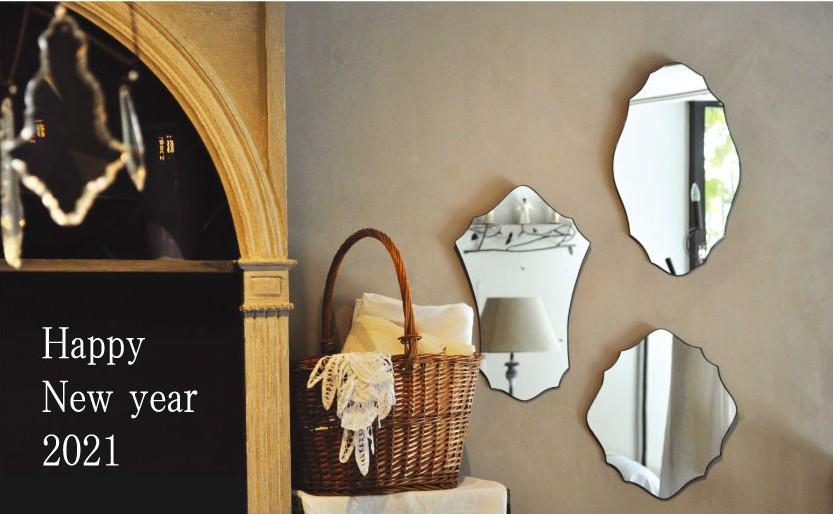 Happy New Year 2021 atelier mado 神戸 ステンドグラス 壁鏡 ウォールミラー フレンチスタイル